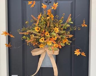 Orange and Yellow Daisy Bucket Wreath for Front Door, Fall Door Wreaths