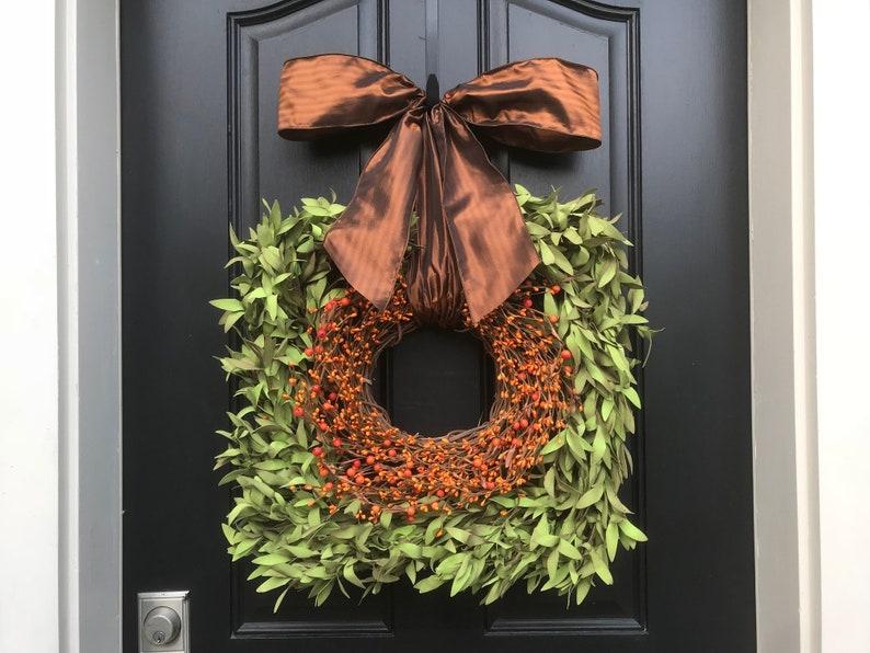 Modern Farmhouse Fall Square Boxwood Wreath Traditional Fall image 0
