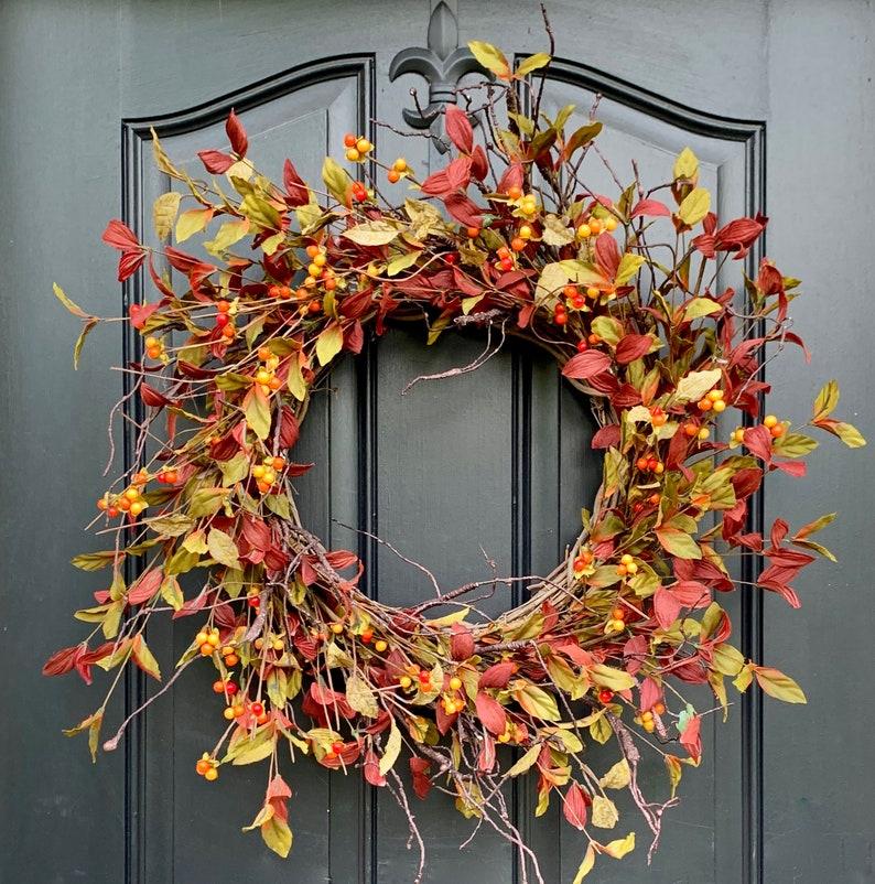 Autumn Leaves Wreath  Bittersweet Door Wreaths  Simple Fall image 0