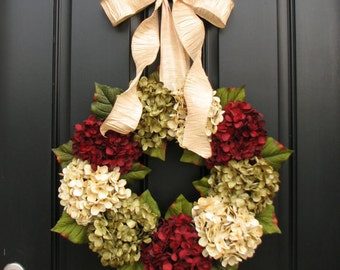 Front Door Wreaths for Christmas, Hydrangea Wreath, Holiday Wreaths, Featured in Town & Country Holiday Magazine