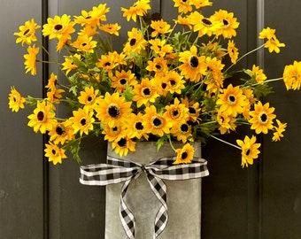 Yellow Black Eyed Susan Flower Basket, Front Door Summer Hanger