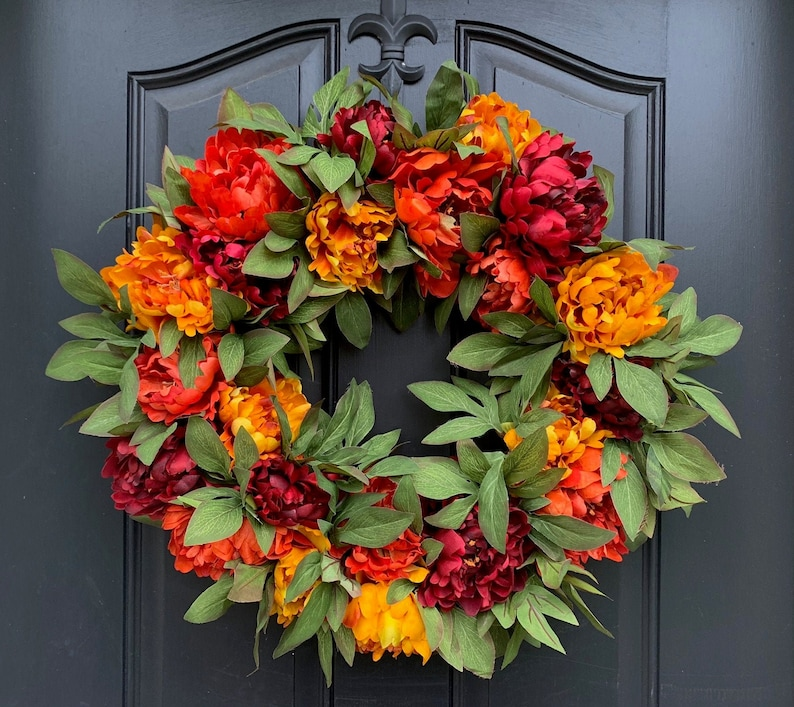Vibrant Fall Peony Wreath for Front Door image 0