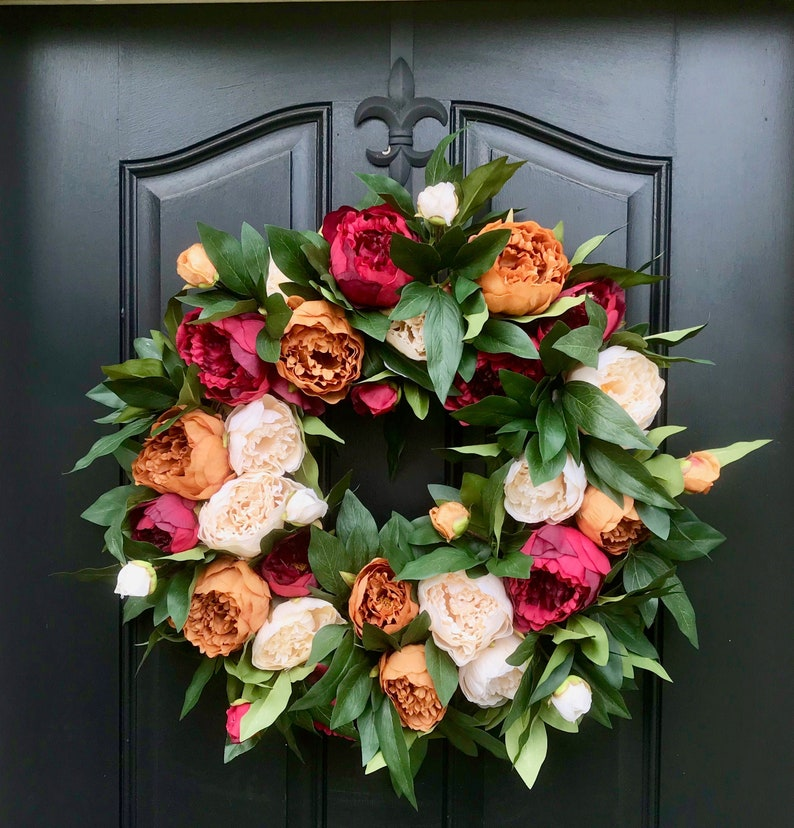 NEW Premium Fall Peony Wreath for Front Door with Burnt image 0