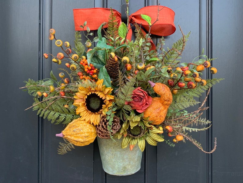 Fall Fern Galvanized Bucket with Sunflowers Pinecones and image 0