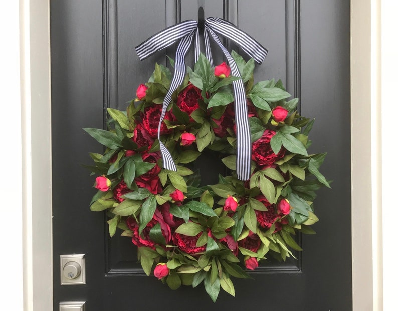 Featured in 2019 Holiday Decor Magazine Red Peony Wreath All Cranberry (1-4)