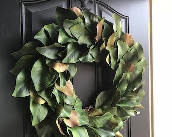 Magnolia Wreath, Everyday Magnolia Wreaths for Front Door, Year Round Magnolia Door Hanging