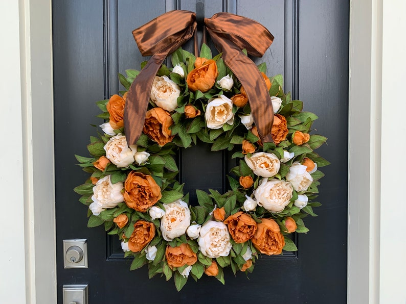 Fall Front Door Peony Wreath with Premium Quality Burnt Orange image 0