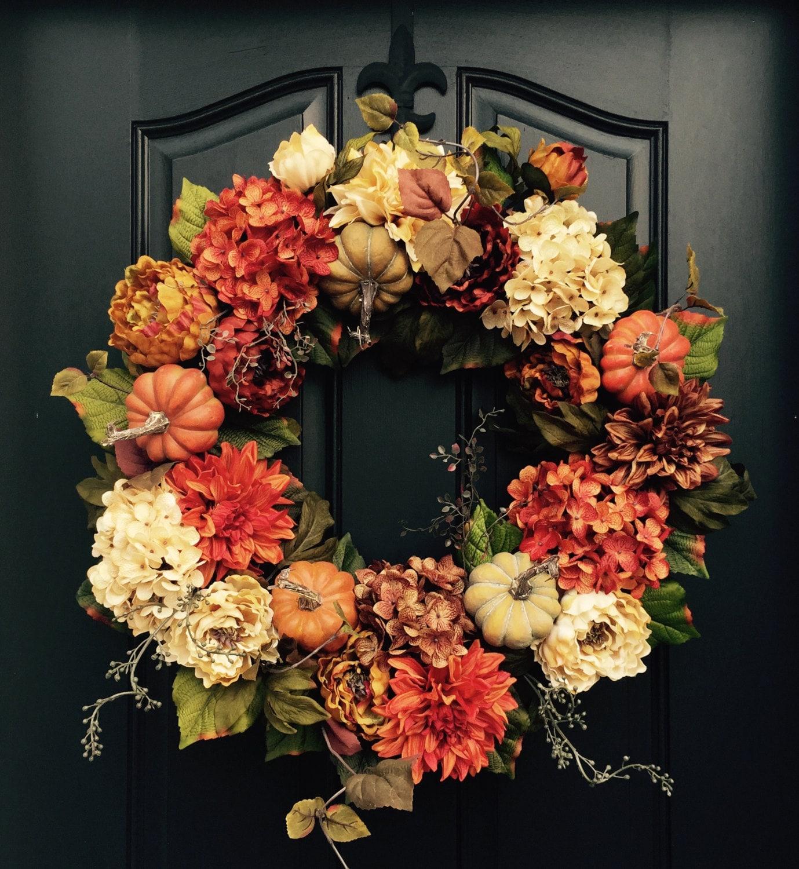Fall Front Door: FALL Wreath Thanksgiving Wreath Front Door Wreath Holiday