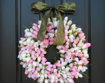 Spring Tulip Wreath, MOTHER'S DAY Tulips, Front Door Wreath, Door Wreaths, Mother's Day Wreath, Wreaths, Easter Tulips, Spring