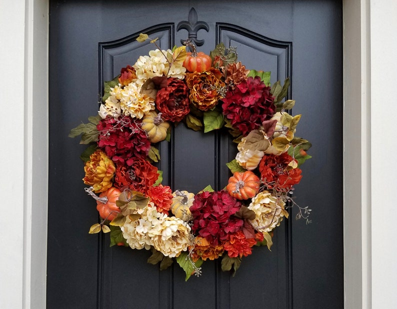 FALL DECOR Thanksgiving Wreath Front Door Wreath Holiday image 0