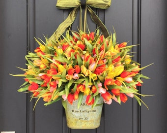 Spring Tulip BUCKET, Tulips for Spring,  French Tulip Bucket, Container of Tulips, Spring Tulips for Door, Door Wreaths Tulips