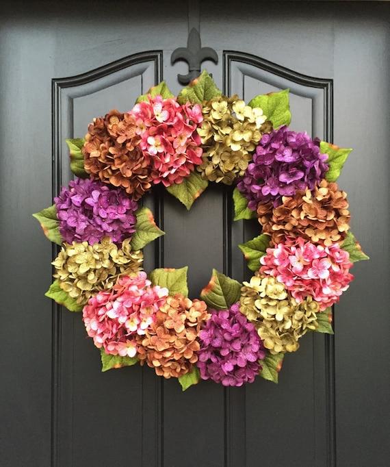 Summer Wreaths Front Door Wreaths Summer Hydrangea Wreath Etsy