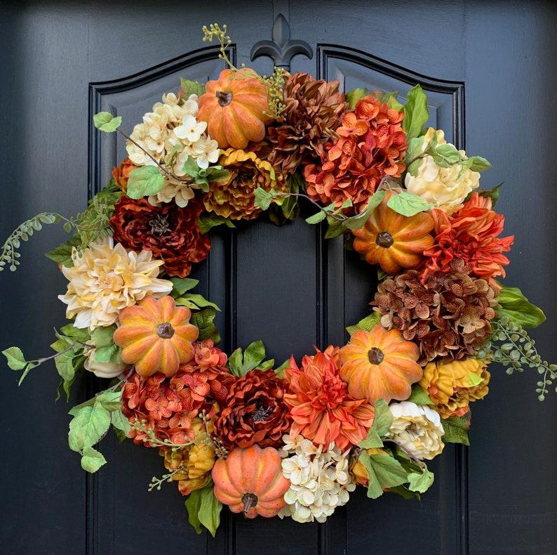 Autumn Wreaths Fall Hydrangea Wreath Fall Wreaths Fall image 0