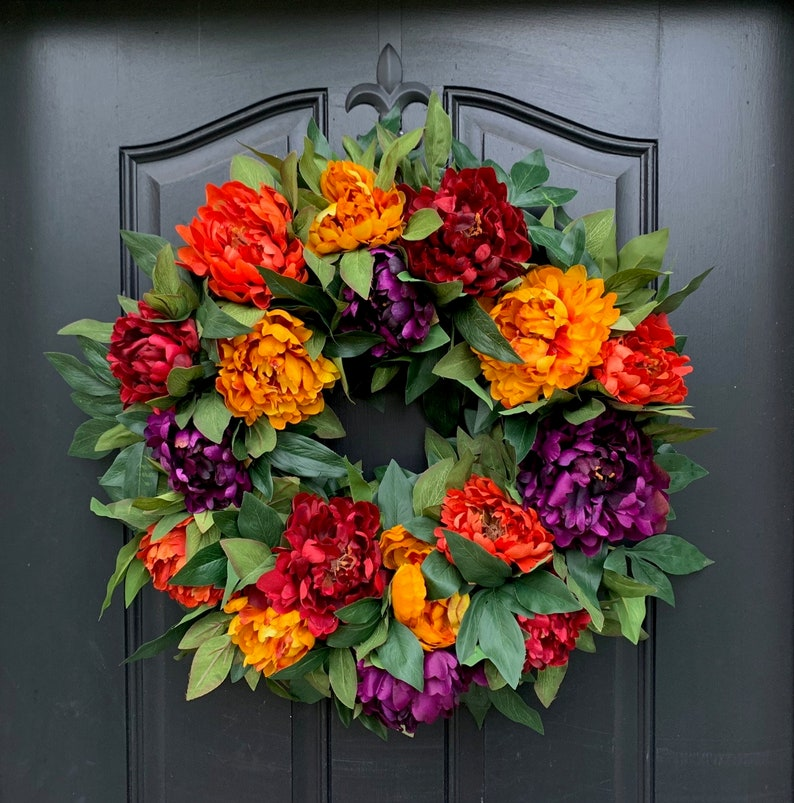 24 Fall Peony Wreath for Front Porch Decor Festive Fall image 0