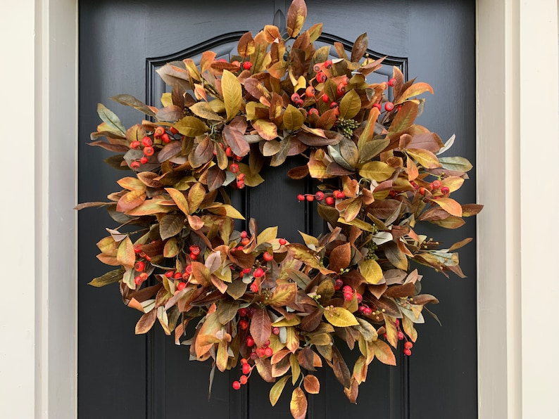Outdoor Fall Foliage Berry Wreath  NEW 2019 Fall Handcrafted image 0
