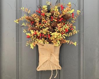 Fall Findings Burlap Basket for Front Door, Fall Door Wreaths