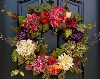 Front Door Wreaths for Summer, Colorful Year Round Wreath