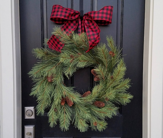 Christmas Wreath Artificial Pine Wreath 2017 Christmas Wreaths For Sale Outdoor Christmas Wreaths Christmas Wreaths Etsy