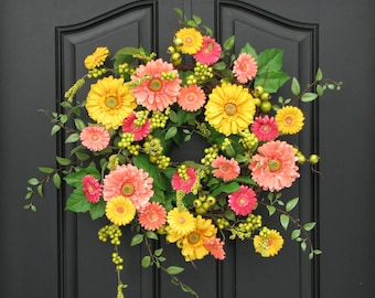 Spring Wreaths, Spring Wreath For Front Door, Gerber Daisy Wreath, Yellow  Daisy Wreath
