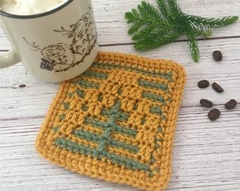 Pine Tree Coaster Mosaic Crochet Pattern Easy Pattern DIY Fall Autumn Coaster Set Handmade Housewarming Gift Idea DIY Gift