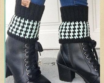 Houndstooth Boot Cuff Crochet Pattern Beginner Friendly Crochet Pattern with Video Tutorial Winter Fashion Crochet