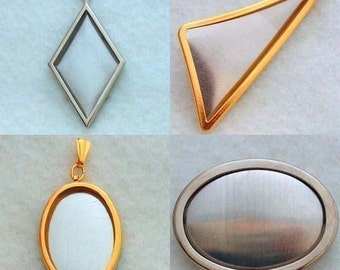 Any 10 Pendant and Pin Settings Frames Special - Embroidery Mounting Supplies - Metal Embroidery Hoop, Minature Metal Frame
