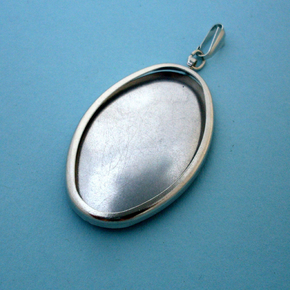 Silver Tone Oval Pendant Setting Frame Mounting Silver Etsy