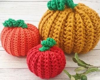 Pumpkin Patch Crochet Pattern 3 Sizes Easy Pattern DIY Fall Autumn Pumpkin Patch Handmade Thanksgiving Home Decor Decoration