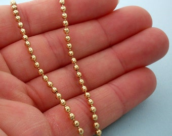 NEW Gold Brass Finished Steel Ball Chain Necklace, Gold Ball Chain Necklace - 18 inch