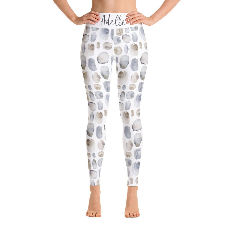 Iceland patterns Yoga Workout Leggings With Name  Watercolor Gradient Feathers Birds Pebbles Lake Ombre  100/% Made in USA