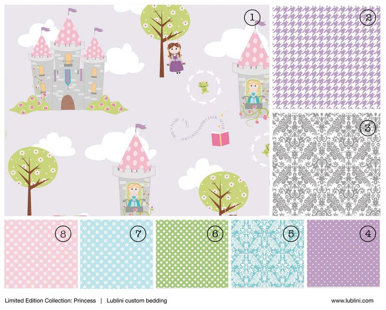 Stokke / Leander / Crib Bedding - Nursery, Bumperless, fitted sheet, skirt  // Princess collection // Choose your fabric