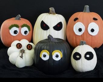 Crochet Pattern Eyeballs - Fun decorating for Halloween, no mess jack-o-lantern, fall, pumpkin eyes Child Tweens Teens INSTANT PDF DOWNLOAD
