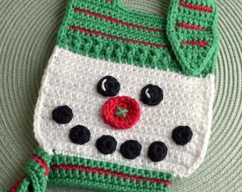Crochet pattern Snowman Baby Bib Drool Bib Spit Bib Burp Bib Food Bib for Christmas babies and toddlers shower gift INSTANT pdf DOWNLOAD