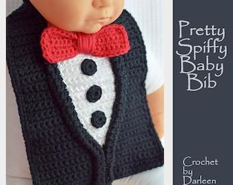Crochet pattern Baby Bib Drool Bib Tuxedo Bib Spit Bib Burp Bib Food Bib for babies and toddlers shower gift INSTANT pdf DOWNLOAD