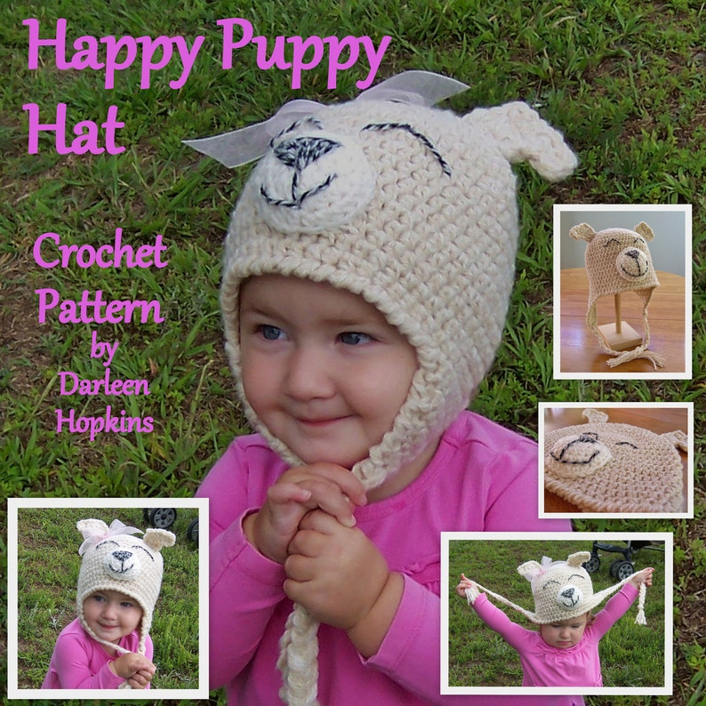 07e48d78b6c Crochet Pattern Dog Hat with earflaps fits average newborn