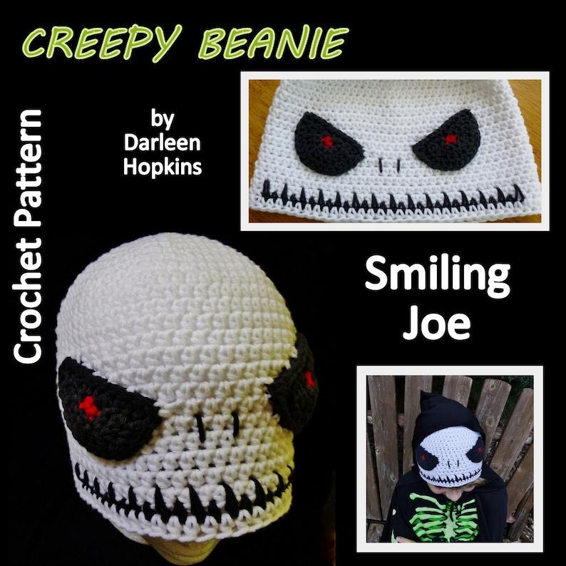d28835bffb667 Skull Crochet Pattern Smiling Joe Creepy Beanie Hat for