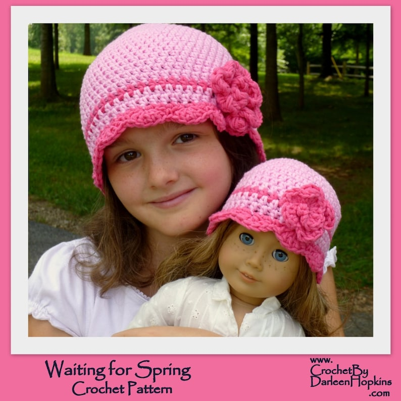 Crochet Pattern Girls Flapper Hat with Rose for infant image 0