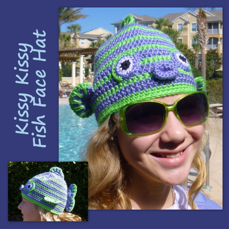 49d52ae9b29 Fish Hat Crochet Pattern Kissy Fish Face for boy girl tween