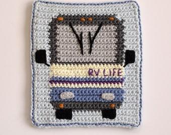 Crochet Pattern, RV Motorhome Class A hot pad potholder trivet crochet pattern for rv  pot holder camping fun INSTANT PDF digital download