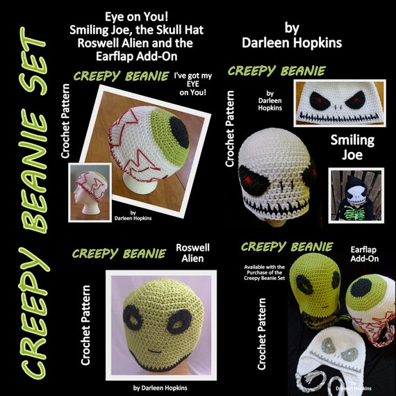 Creepy Beanie Crochet Pattern Set With Earflap Option Alien Etsy