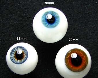 Three Amazing German (mouth-blown) Crystal Glass Eyes (SINGLES) in Blue, Turquoise blue and Brown (18mm & 20mm). NOT pairs.