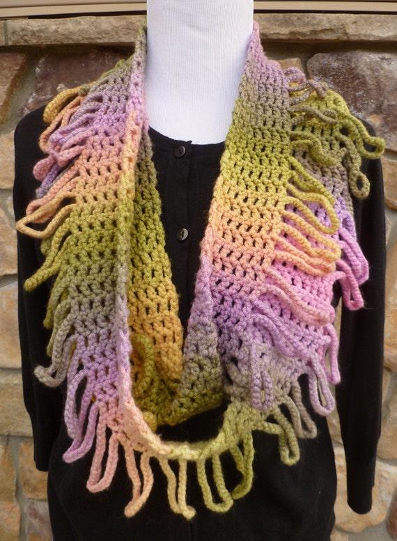 Crochet Infinity Scarf Pattern Fringe Scarf Pattern Etsy
