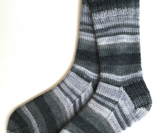 103b31e34a90 Cashmere Merino Wool Blend Socks for women and girls, hand knit socks, DK  weight, striped socks, multi shades of gray, soft socks