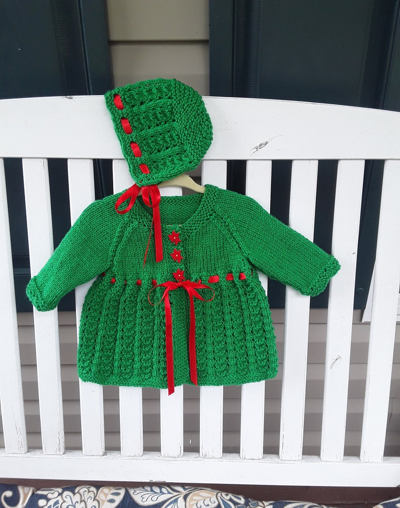 Handmade New Newborn 0-6Months Christmas Sweater and Bonnet Green and Red