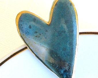 Ceramic Heart Brooch. Jade Green. Blue Gray. Porcelain. Aqua Green. Sage Green. Earth Tone. Clay. Teal. Large Pin. 22K Gold Edge