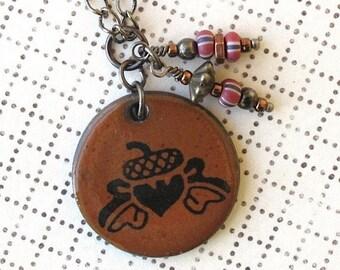 SALE! Acorn Necklace. Rust Glaze. Black Porcelain. Round. Burnt Orange. Terra Cotta. Copper. Glass Beads. Gunmetal Chain. Oak Leaves. Circle