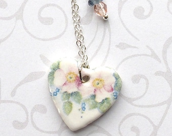 SALE! Heart Pendant Necklace. Roses. Porcelain Clay. Wildflowers. Pastel Pink. Sky Blue. Green. Roses. Sterling Silver Chain. Shabby Chic