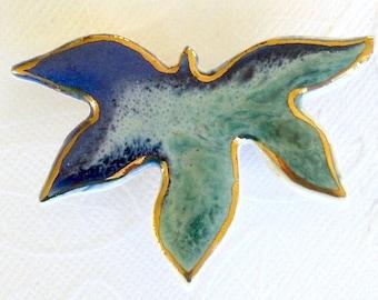 SALE! Maple Leaf Brooch. Aqua & Sapphire Blue. Porcelain. Blue-Green. 22K Gold Edge. Jade Green. Mint Green. Royal Blue. Ceramic. Statement
