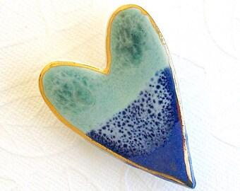 SALE! Heart Brooch. Light Jade Green. Cobalt Blue. Ceramic. Ocean Blue. Mint Green. Blue-Green. Sapphire Blue. Clay. Porcelain. 22K Gold