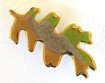 Oak Leaf Brooch. Olive Green. Greenery. Amber Gold. Sandy Tan. Ceramic. 22K Gold. Porcelain Clay. Yellow-Green. Saffron. Lime Green. Beige